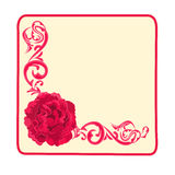 Button business card roses and ornaments vector illustration. Button business card red roses and ornaments vector illustration Stock Photos