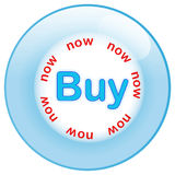 Button buy now isolated on white background. Blue glass button buy now Royalty Free Stock Image
