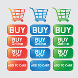Button buy online shopping cart. Vector design button buy online  web botton and icon cart Royalty Free Stock Photography