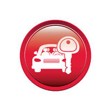 Button with car and key Royalty Free Stock Images