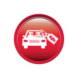 Button with car and price tag dollar Stock Photo