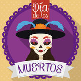Button with Catrina for Dia de Muertos in Flat Style, Vector Illustration Stock Photography