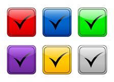 Button check symbol Stock Images