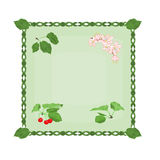 Button cherries with leaves and flowers vector Royalty Free Stock Photos