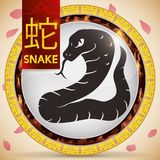 Button with Chinese Zodiac Snake and Fixed Element: Fire, Vector Illustration. Ribbon and round button with traditional Chinese animal zodiac: Snake -written in Royalty Free Stock Image