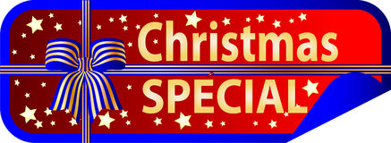 Button Christmas Special with ribbon Royalty Free Stock Image