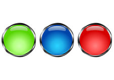 Button circle. Chrome and color. Green, blue and red Stock Photos