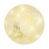 Button circle New Year fireworks and lucky symbols vector. Button circle New Year fireworks and lucky symbols  gold background  vector illustration Royalty Free Stock Image
