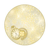 Button circle  New Year fireworks with watches and lucky symbols vector Stock Photography