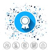 Award medal icon. Best guarantee symbol. Button on circles background. Award medal icon. Best guarantee symbol. Winner achievement sign. Calendar line icon. And Stock Photo