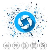 Baby footprints icon. Child barefoot steps. Stock Images