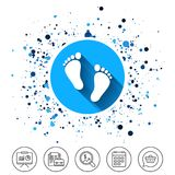 Child pair of footprint sign icon. Barefoot . Button on circles background. Child pair of footprint sign icon. Toddler barefoot symbol. Baby`s first steps Royalty Free Stock Images