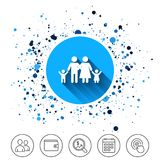 Family icon. Parents with children symbol. Button on circles background. Family icon. Parents with children symbol. Family insurance. Calendar line icon. And Royalty Free Stock Photography