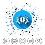 First place award sign icon. Prize for winner. Button on circles background. First place award sign icon. Prize for winner symbol. Laurel Wreath. Calendar line Royalty Free Stock Photo