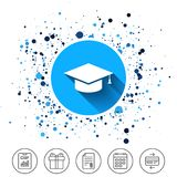 Graduation cap sign icon. Education symbol. Button on circles background. Graduation cap sign icon. Higher education symbol. Calendar line icon. And more line Royalty Free Stock Photography