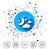 Moon, clouds and stars sign icon. Dreams symbol. Stock Photos