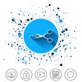 Scissors with cut line sign icon. Tailor symbol. Royalty Free Stock Photo