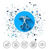 Scissors cut hair sign icon. Hairdresser symbol. Button on circles background. Scissors cut hair sign icon. Hairdresser or barbershop symbol. Calendar line icon stock illustration
