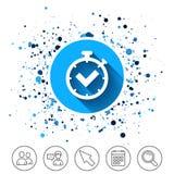 Timer sign icon. Check stopwatch symbol. Stock Photos