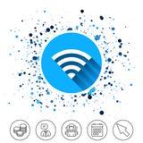 Wifi sign. Wi-fi symbol. Wireless Network. Button on circles background. Wifi sign. Wi-fi symbol. Wireless Network icon. Wifi zone. Calendar line icon. And more Stock Image