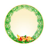 Button circular   Christmas Spruce with fruit and pine cones and holly vintage vector Stock Images