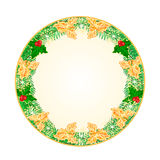 Button circular Christmas spruce  and a golden and green holly  vector. Button circular Christmas spruce and a golden and green holly and snowflakes  vintage Stock Photos
