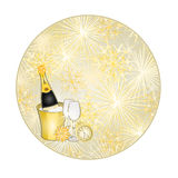 Button circular New Year fireworks and midnight toast gold background vector. Button circular New Year fireworks and midnight toast gold background  vector Stock Photography