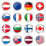 button collection with country flags Stock Image