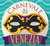 Button with Colombina Mask for Venice Carnival in Flat Style, Vector Illustration Royalty Free Stock Image