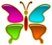 Button, Colorful Butterfly Stock Image