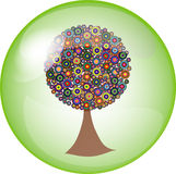 Button with colorful tree Royalty Free Stock Images