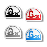 Button of contact - semicircle design, woman, operator on the phone Royalty Free Stock Images