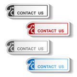 Button of contact us - rectangle design with old phone Stock Photo