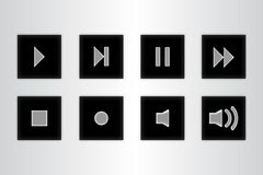 Button control media set icons on gray background royalty free illustration