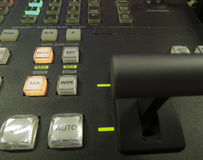 Button on the control panel television equipment Royalty Free Stock Photos