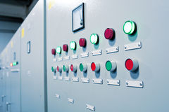 Button on the control room cabinet Royalty Free Stock Image