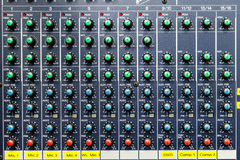 Button control sound mixer. Buttons and tabs in various parts of the audio controller Royalty Free Stock Image