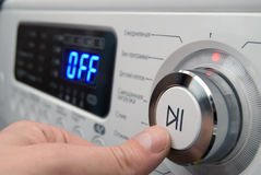 Button on a control of washing-machine panel Royalty Free Stock Images