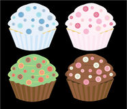 Button cupcakes. In four color combinations vector illustration