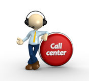 Button. 3d people - man, person with headphones and a button. Call center Stock Photo