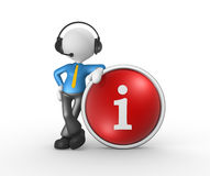 Button. 3d people - man, person with headphones  with microphone and button i - information Royalty Free Stock Photography