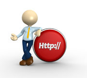 Button. 3d people - man, person with a button and http Stock Images