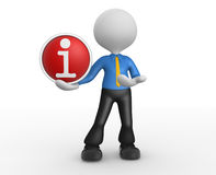Button. 3d people - man, person with a button i - information Royalty Free Stock Photos