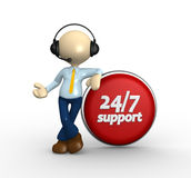 Button. 3d people - man, person with a button and text  support 24/7 Stock Photo