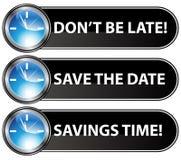 button datumet sparar tid Arkivfoton