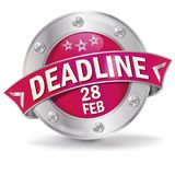 Button deadline february 28th. Button deadline with the february 28th Royalty Free Stock Photos