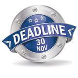 Button deadline November 30th. Button with the deadline November 30th stock illustration