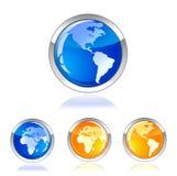 button den glansiga symbolen för jordklotet Arkivbilder