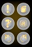 button den guld- symbolsrengöringsduken Arkivbild