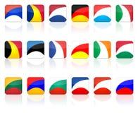 button den set fyrkanten för flaggan Fotografering för Bildbyråer